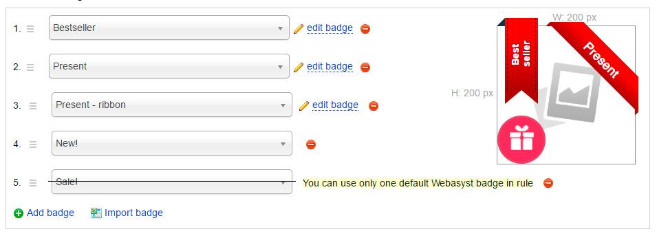 Adding badges - plugin Badges for Shop-Script