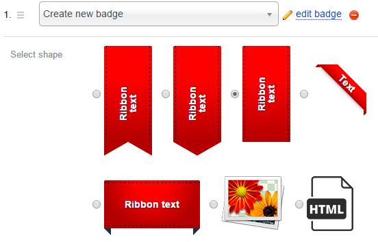 7 badge shapes - plugin Badges for Shop-Script