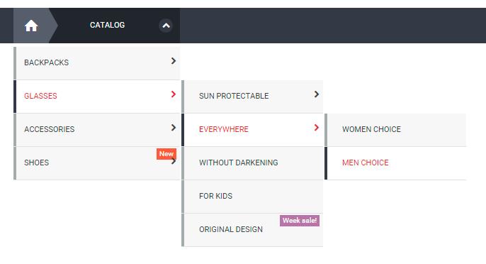 Vertical menu with dropdown categories list