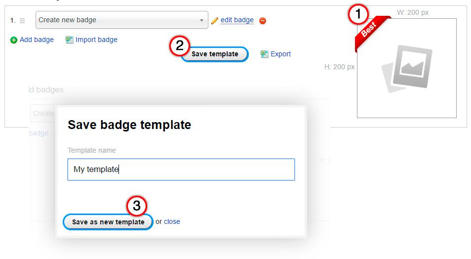 Create template - plugin Badges for Shop-Script